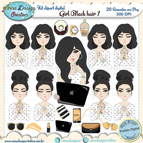 Kit clipart digital Girl Black hair 1