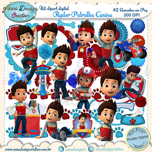 Kit clipart digital Ryder Patrulha canina