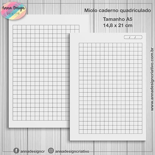 Miolo caderno quadriculado - Tamanho A5