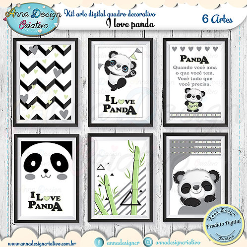 Kit arte digital quadro decorativo I love panda
