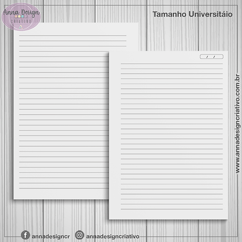 Miolo caderno pautado - Tamanho Universitário - 100 folhas