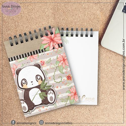 Bloquinho Panda 01 - Cartonado Tamanho A6