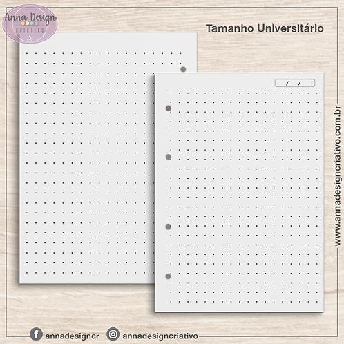 Refil fichário miolo pontilhado - Tamanho Universitário - 100 folhas