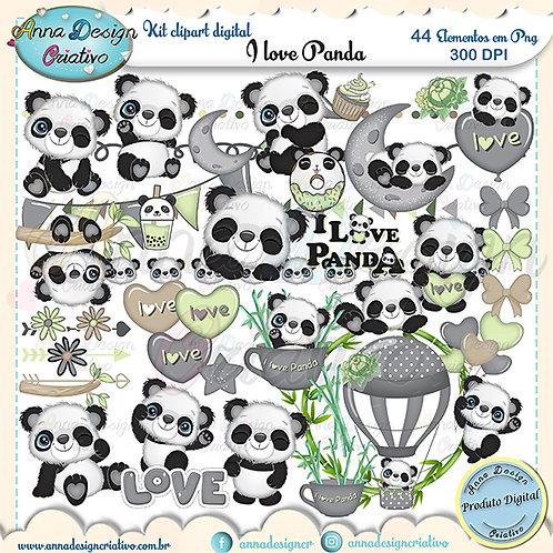 Kit clipart digital I love panda