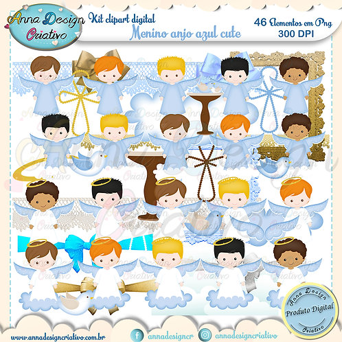 Kit clipart digital Menino Anjo azul cute