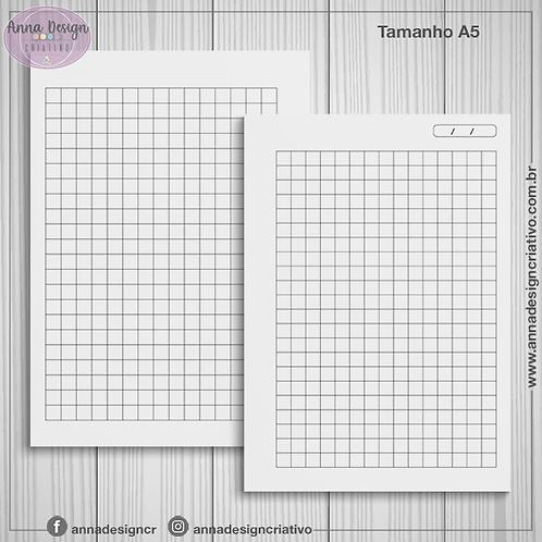 Miolo caderno quadriculado - Tamanho A5 - 100 folhas