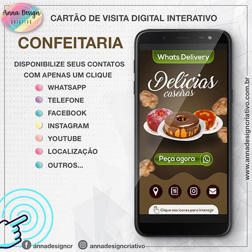 Cartão de visita digital interativo - Confeitaria 01