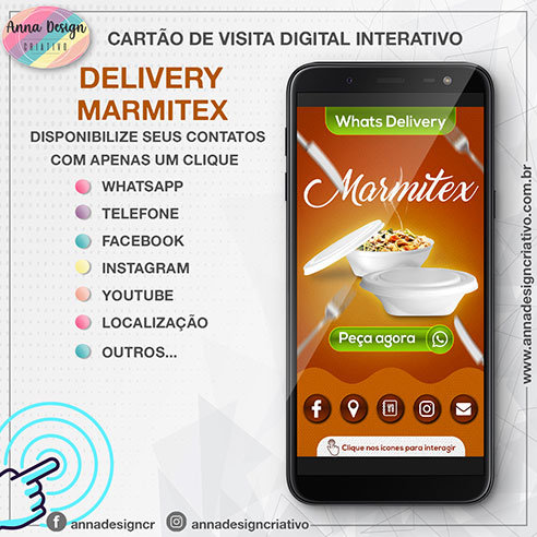 Cartão de visita digital interativo - Delivery marmitex 01