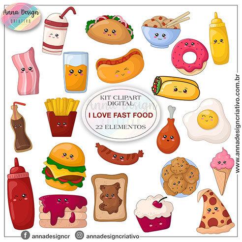 Kit clipart digital I love fast food cute 01