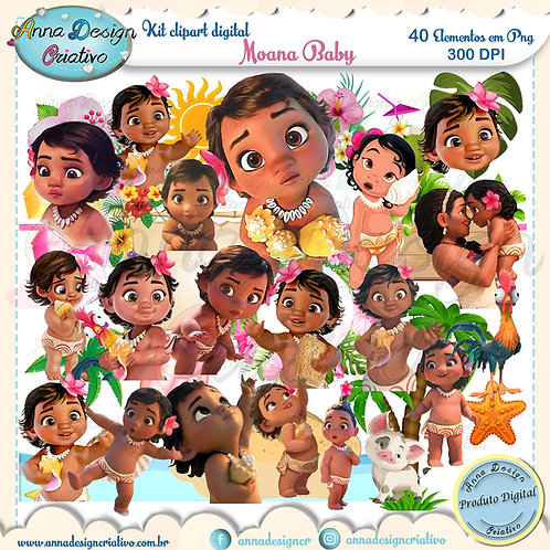 Kit clipart digital Moana baby