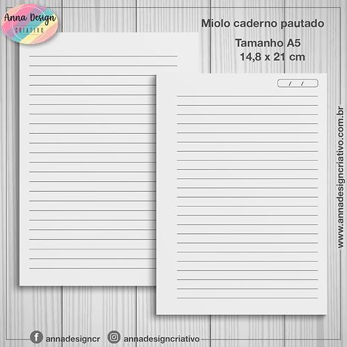 Miolo caderno pautado - Tamanho A5