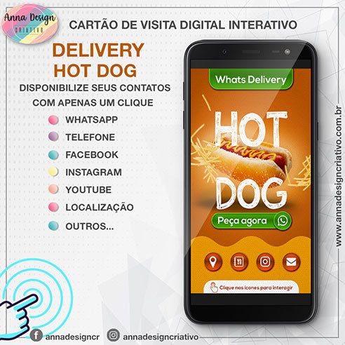 Cartão de visita digital interativo - Delivery hotdog 01