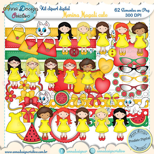 Kit clipart digital Menina Magali cute