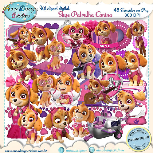 Kit clipart digital Skye Patrulha canina