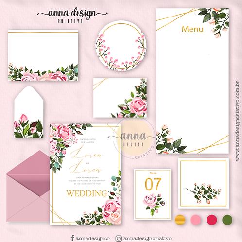 Kit arte papelaria casamento floral rosas 01