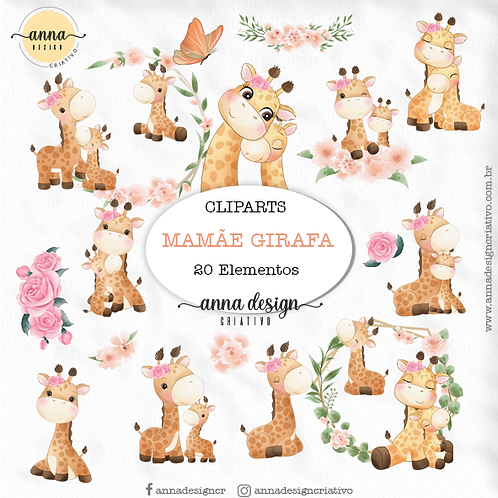 Kit clipart digital Mamãe girafa