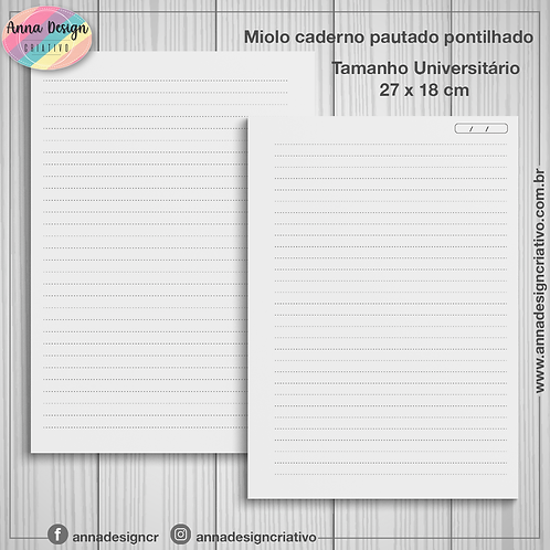 Miolo caderno pautado pontilhado - Tamanho Universitário