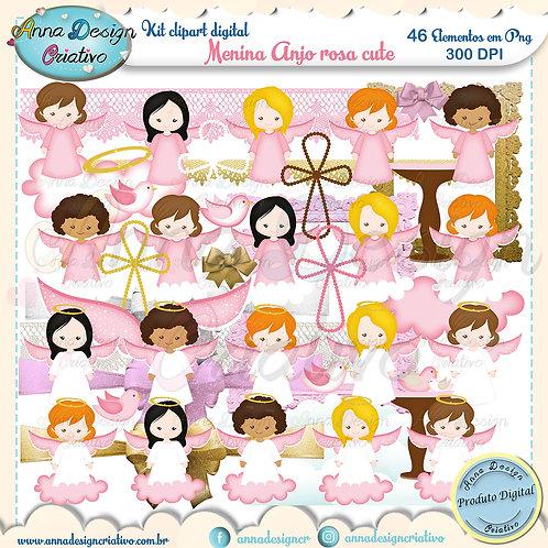 Kit clipart digital Menina Anjo rosa cute