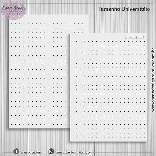 Miolo caderno pontilhado - Tamanho Universitário - 100 folhas
