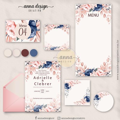 Kit arte papelaria casamento floral rosas marinho pêssego 01