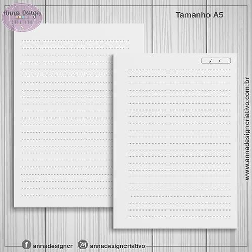 Miolo caderno pautado pontilhado - Tamanho A5 - 100 folhas