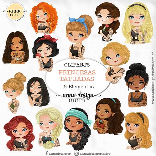 Kit clipart digital Princesas tatuadas 01