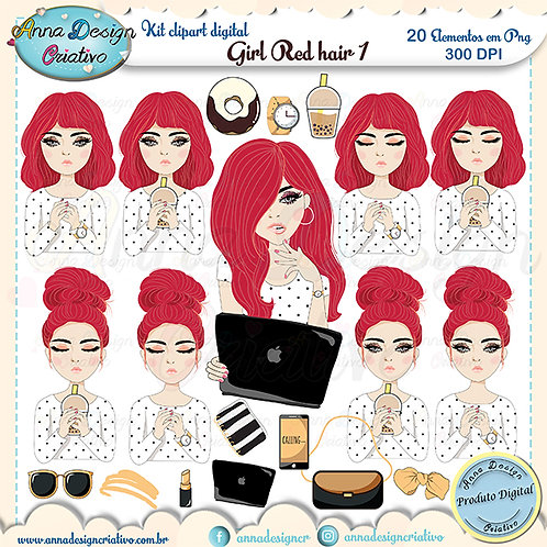 Kit clipart digital Girl Red hair 1