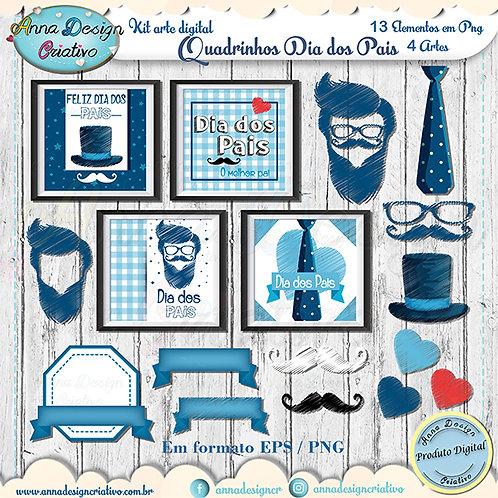 Kit arte digital Quadrinhos Dia dos Pais 2
