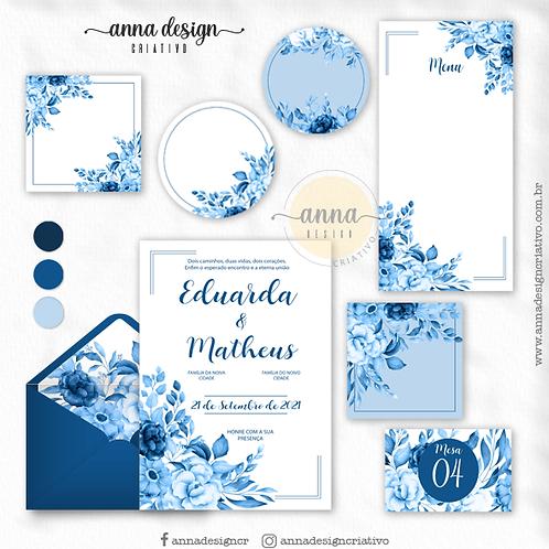 Kit arte papelaria casamento floral azul 01