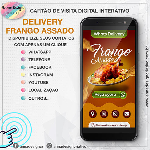 Cartão de visita digital interativo - Delivery frango assado 01