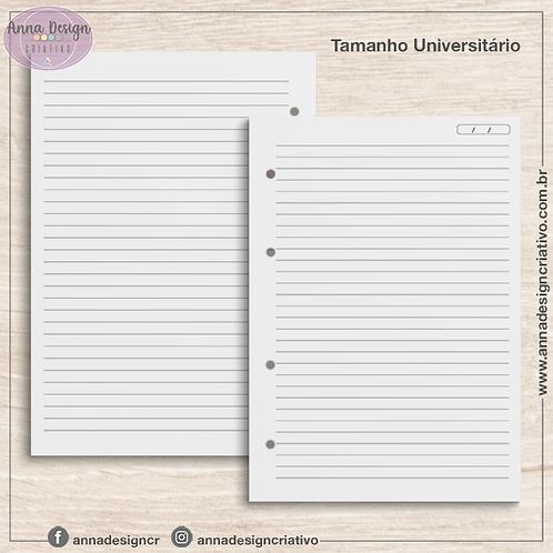 Refil fichário miolo pautado - Tamanho Universitário - 100 folhas