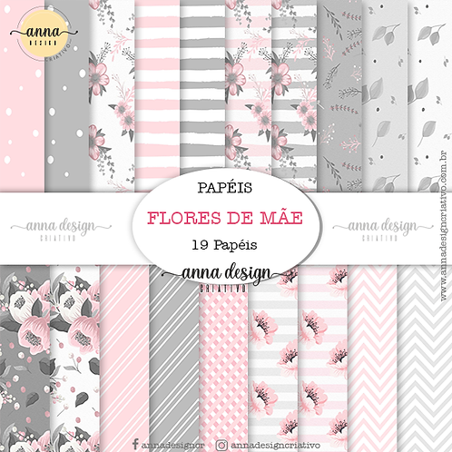Kit papel digital Flores de mãe
