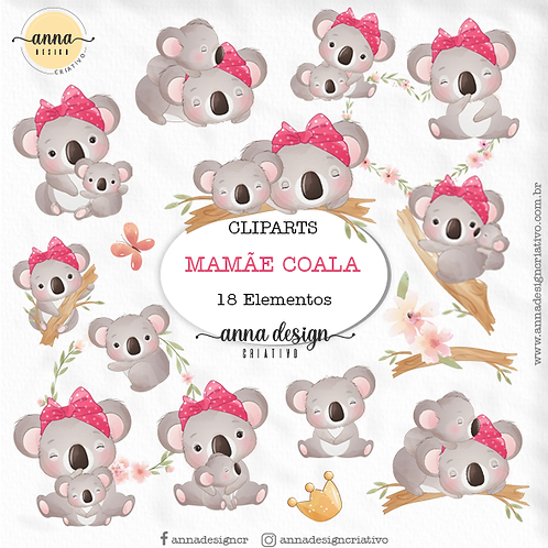 Kit clipart digital Mamãe coala