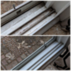 before and after cleaning door slider