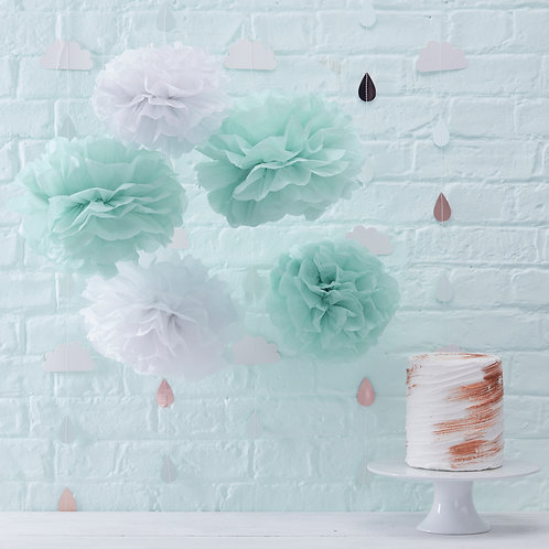 Mint & White Tissue Pom Poms