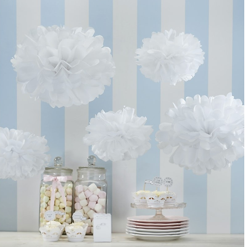 White, Pink or Grey Tissue Pom-Poms