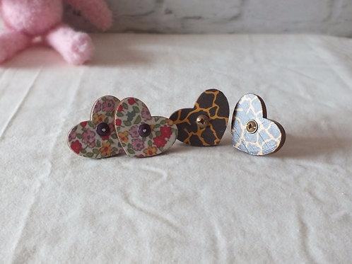 Wooden Heart Drawer Knob x 2