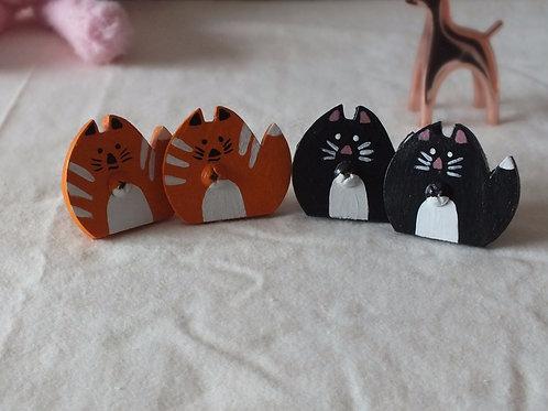 Wooden Cat Drawer Knob x 2