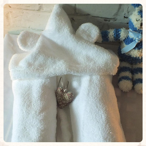 White Baby Hooded Towel with Bear Ears