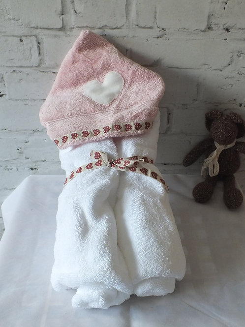 Pink & White Baby Hooded Towel