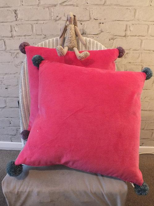 Pink Faux Velvet Cushion