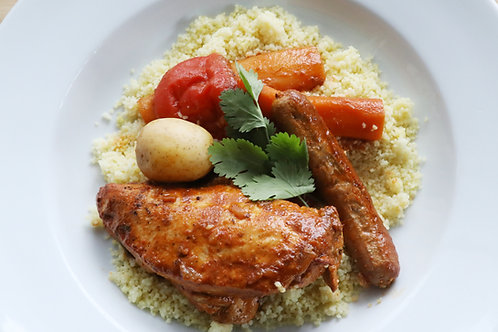 Couscous poulet, merquez et légumes