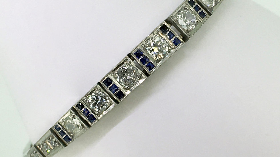Art Deco, witgouden armband met diamant en saffier