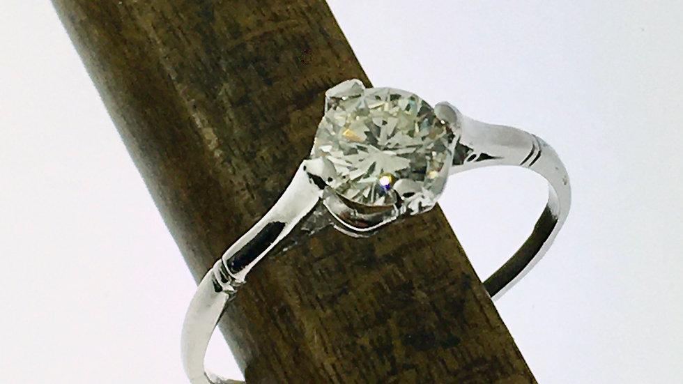 Prachtige witgouden solitair ring met diamant