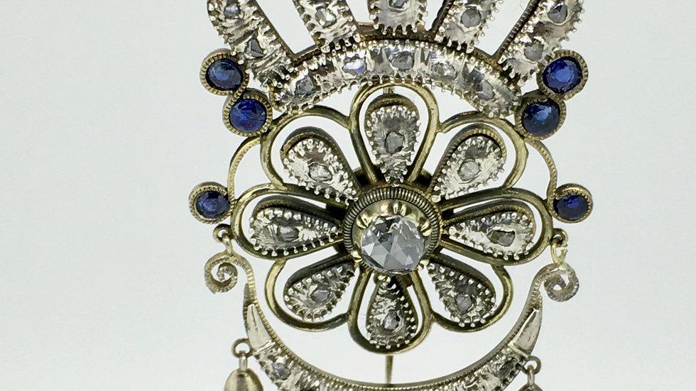 Antieke goud met zilveren broche, gezet met diamant en saffier