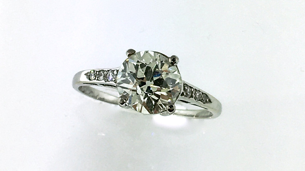 Witgouden, solitair ring met diamant, Bolsjewiek slijpsel, 1,34 crt
