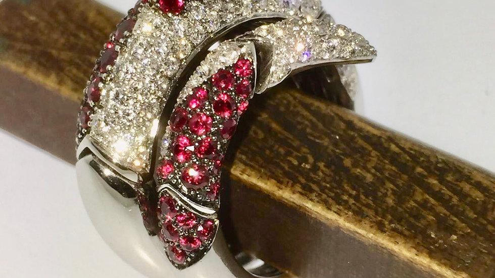 Witgouden ring met diamant en robijn, flexibel