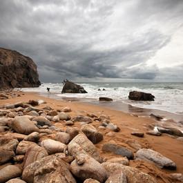 Quiberon, côte sauvage - Enfants sur un rocher
