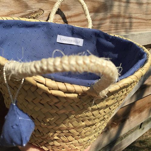 Petit Panier doublé en plumetis bleu jean