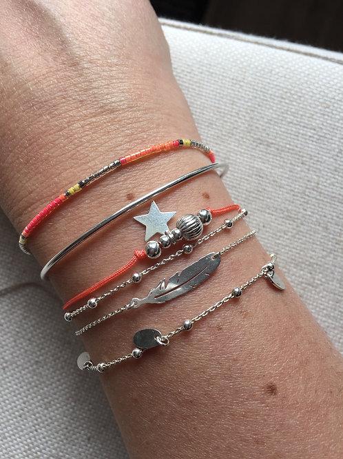 """Bracelet """"Plume"""" en argent massif"""